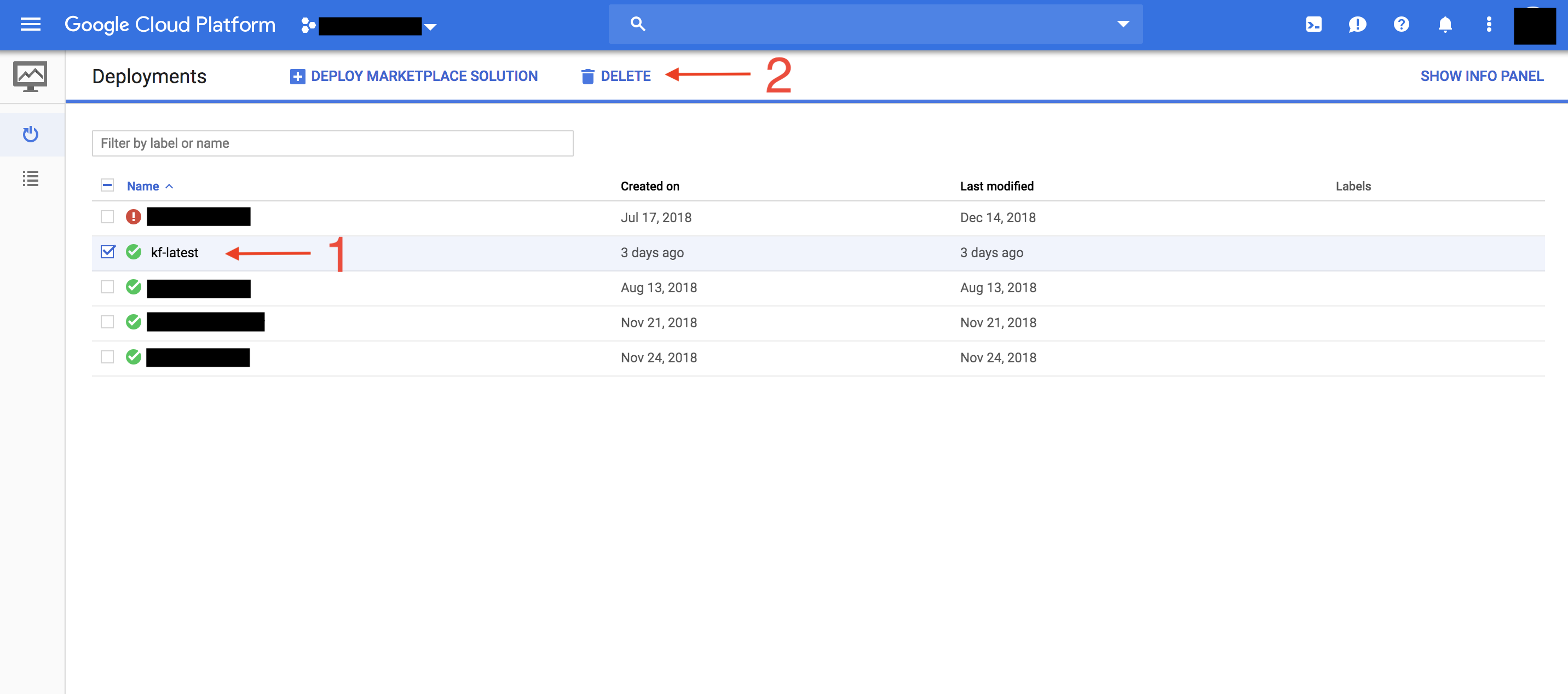 Deleting Kubeflow deployment in GCP Console