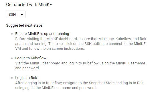 Connect to the MiniKF VM